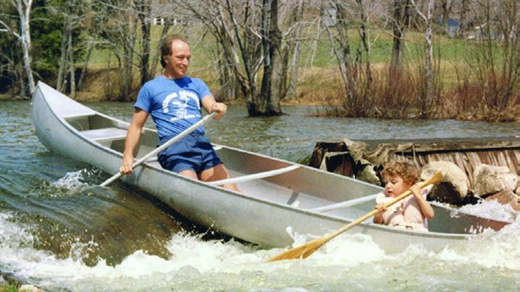 Pierre canoeing with his son Justin Trudeau.