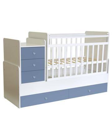 Фея трансформер 1100 бело-синяя  — 8700р. ---------------------- Кровать Фея 1100 для детей от рождения и до 15 лет. Трансформируется в подростковую кровать с независимой приставной тумбой. Сверху тумбы - поверхность для пеленания.