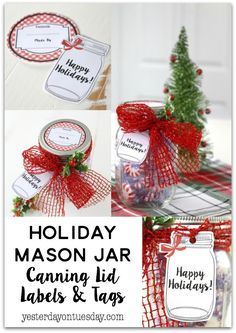 Holiday Mason Jar Canning Labels and Tags: Cute gingham canning labels and mason jar tags, great for Christmas gift giving!