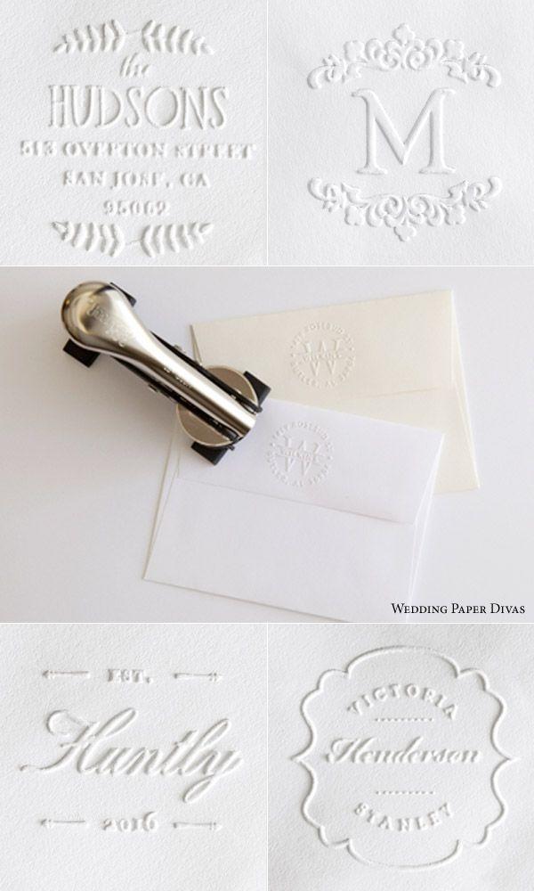 Custom embosser embossing stamps blind embossed return address envelopes back flap