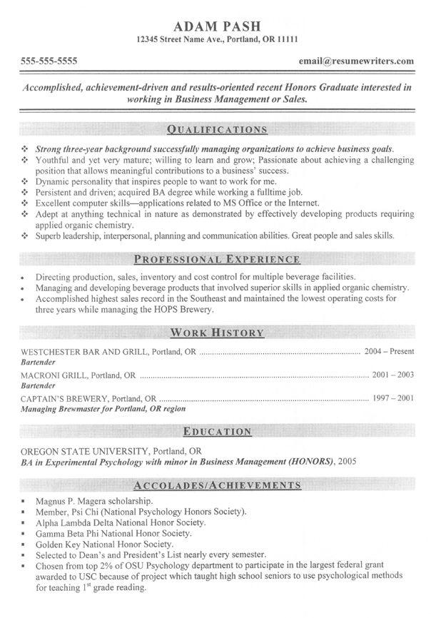 32 best Resume Example images on Pinterest Sample resume, Resume - resume out of college