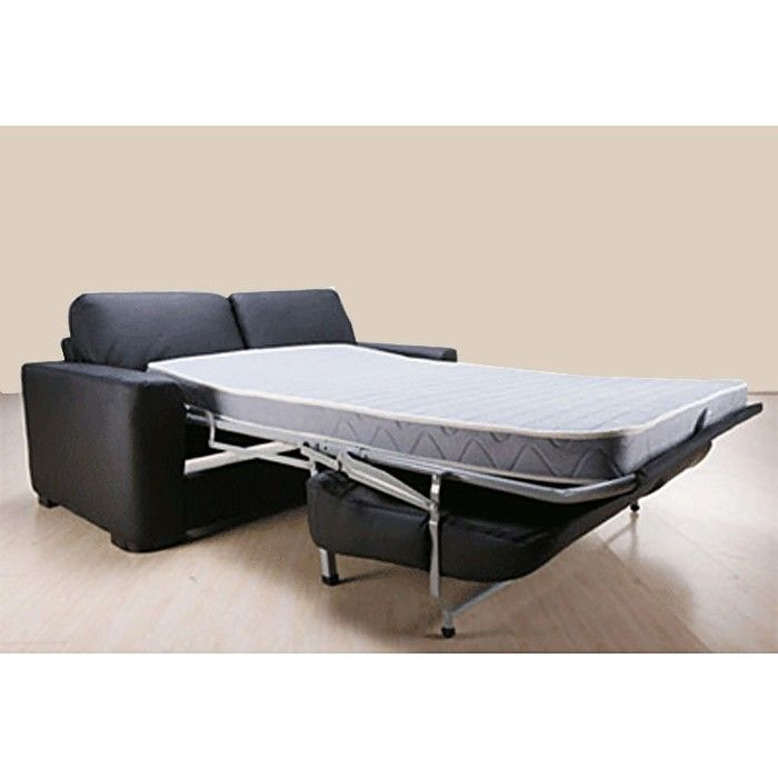 Highly functional sofa bed that encloses a double size mattress below its seat.