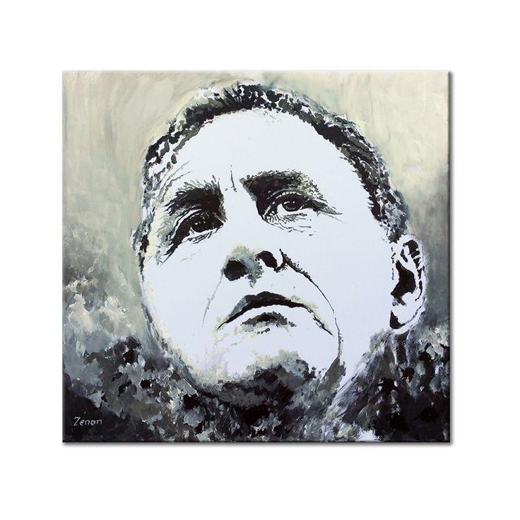 Acryl schilderij op canvas van Johan Cruyff in zwart-wit, eerbetoon van Zenon aan de grootste voetballer aller tijden. Formaat 80 x 80 cmformaat 60 x 80 cm | Kunstvoorjou.nl #JohanCruyff #Ajax #voetballer #muurdecoratie #canvas #schilderij #portretkunst #woonkamer #kantoorkunst #Barcelona #voetbal