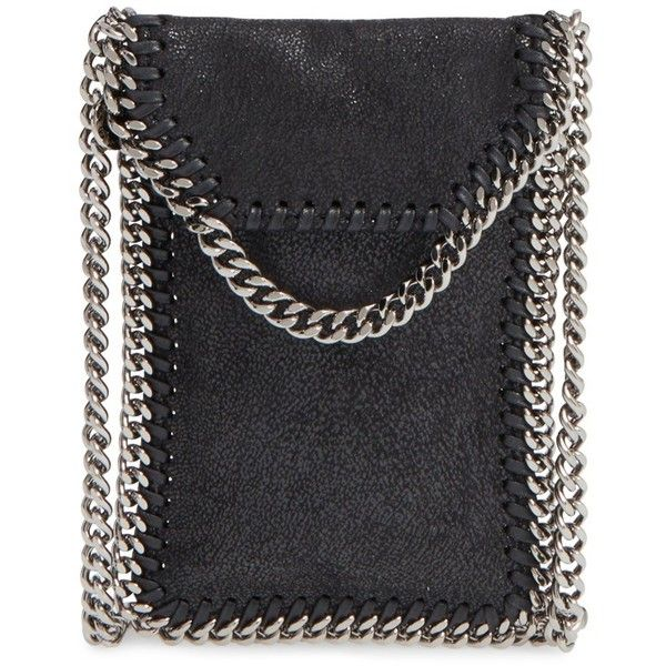 Stella McCartney 'Falabella' Faux Leather Crossbody Phone Pouch (835 NZD) ❤ liked on Polyvore featuring bags, handbags, clutches, black, vegan leather purse, stella mccartney handbags, crossbody chain purse, crossbody handbags and crossbody purse