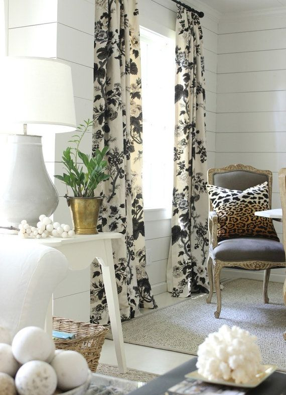 Drapes Are Made To Order.  CUSTOM DRAPES IN SCHUMACHER HOLLYHOCK PRINT. COMES IN CHARCOAL AND INDIGO...see pictures. Also available in wallpaper.