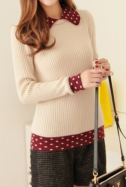 Study Group Contrast Turn Collar Rib Knit Sweater in Beige/Burgundy