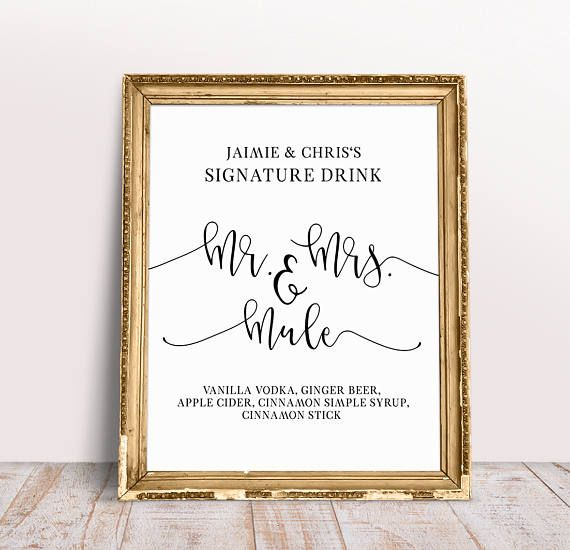 Signature Drink Sign, Reception Signs, Signature Drink, Custom Wedding Signs, Wedding Drink Sign, Wedding Drink Menu, Wedding Bar Signage