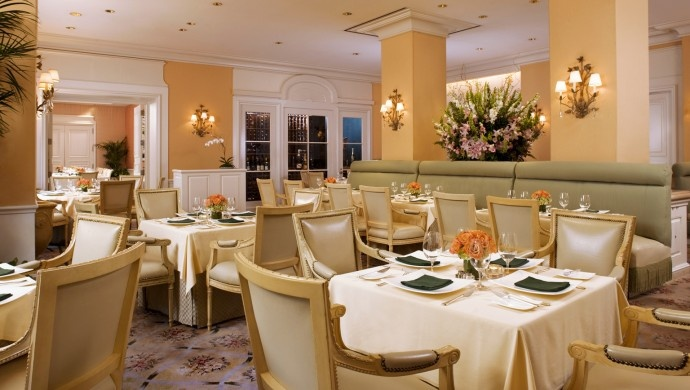 The Peninsula Beverly Hills: At the Belvedere, Sunday brunch means dishes like duck and eggs, plus free-flowing  Champagne.