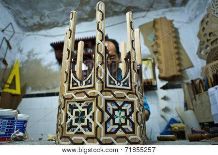 Artisan Working On Nacre Inlaid Table