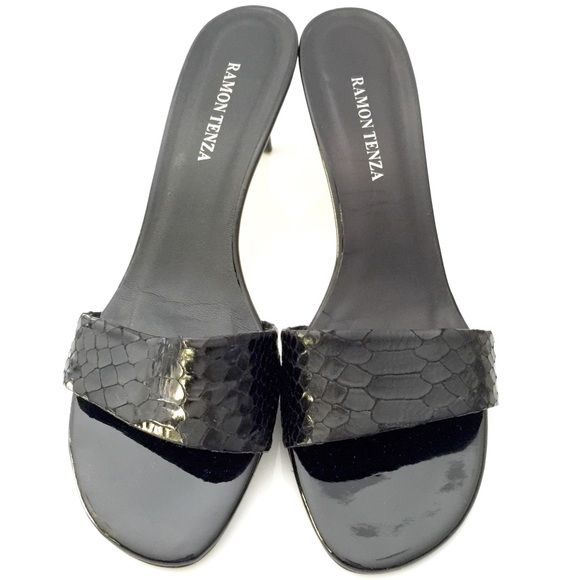 RAMON TENZA HEELS   nordstrom RAMON TENZA HEELS ALL LEATHER UPPER & SOLE. Black snake skin strap. Heels purchased from Nordstrom main line department store not rack.  Listed under designer label for exposure.                                                     $59 kate spade Shoes Heels