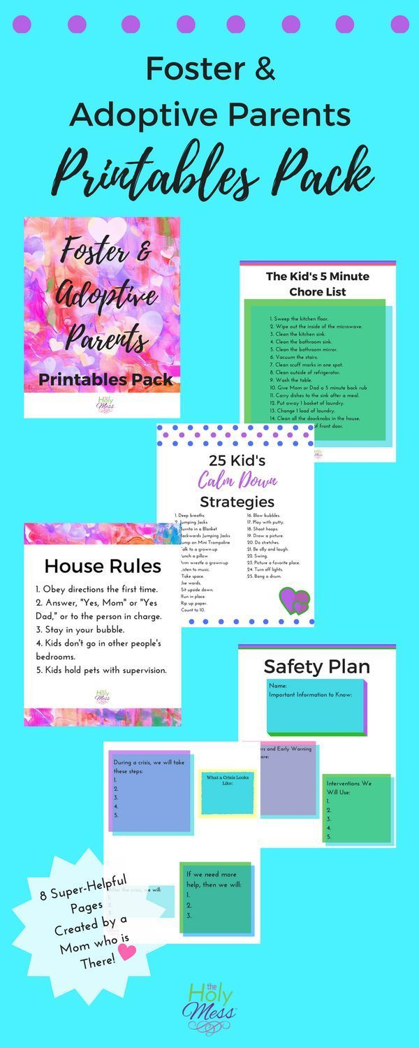 Foster and Adoptive Parents Printables Pack|Foster Mother|Adoptive Mom|Adoption|Foster Care|Printable|House Rules|Strategies|Family