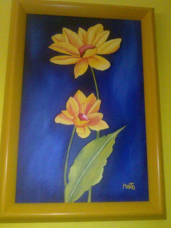 Óleo sobre lienzo. Flores amarillas