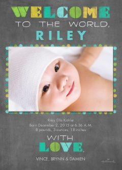 Chalkboard Stenciled Welcome - Blue Photo Cards