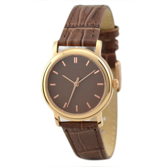 Ladies Rose Gold Watch Brown by SandMwatch on Etsy, $45.00
