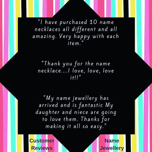 We love our name jewellery customers! 💖 We are always committed to offering the best selection of #namejewellery at affordable prices, and with great customer service. Don't just take our word for it though...we look forward to making many more #happycustomers in 2017! 🌟 #happyshopper #instashop #happy #testimonials
