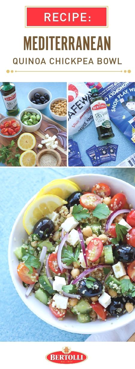 Bring on the fresh flavors this spring with the help of this recipe for a Mediterranean Quinoa Chickpea Bowl! Dressed in Bertolli® Extra Virgin Olive Oil and lemon juice, this tasty combination of tomatoes, cucumber, black olives, chickpeas, feta cheese, red onions, and parsley is sure to brighten up any table. Head over to your local Albertsons or Safeway store to find all the ingredients you'll need and to participate in the 2018 Monopoly program!