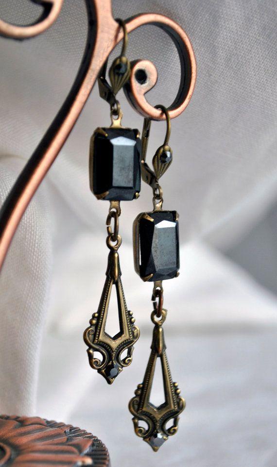 Long earrings, Art Deco, hematite, antique gold, one-of-a-kind, gunmetal grey facet cut stones, leverback earwires