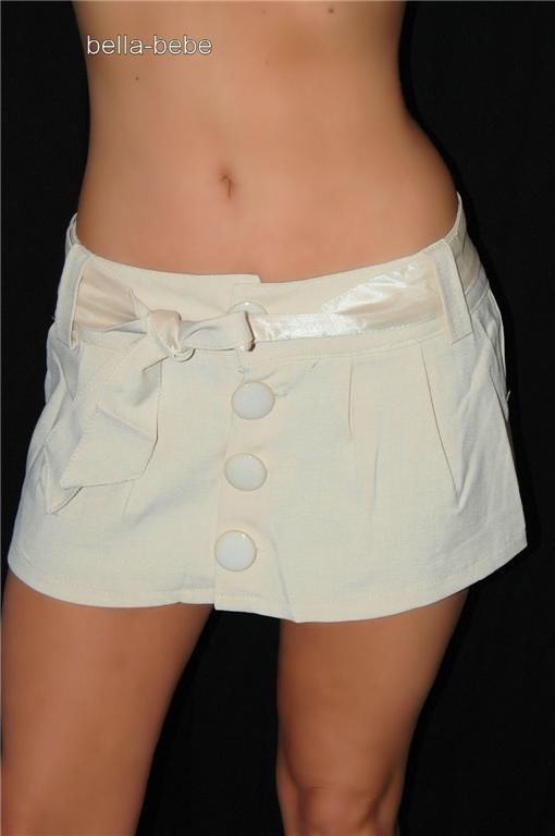 SEXY BEIGE BUTTON LOW RISE 10 IN MICRO MINI SKIRT NEW Super short ...