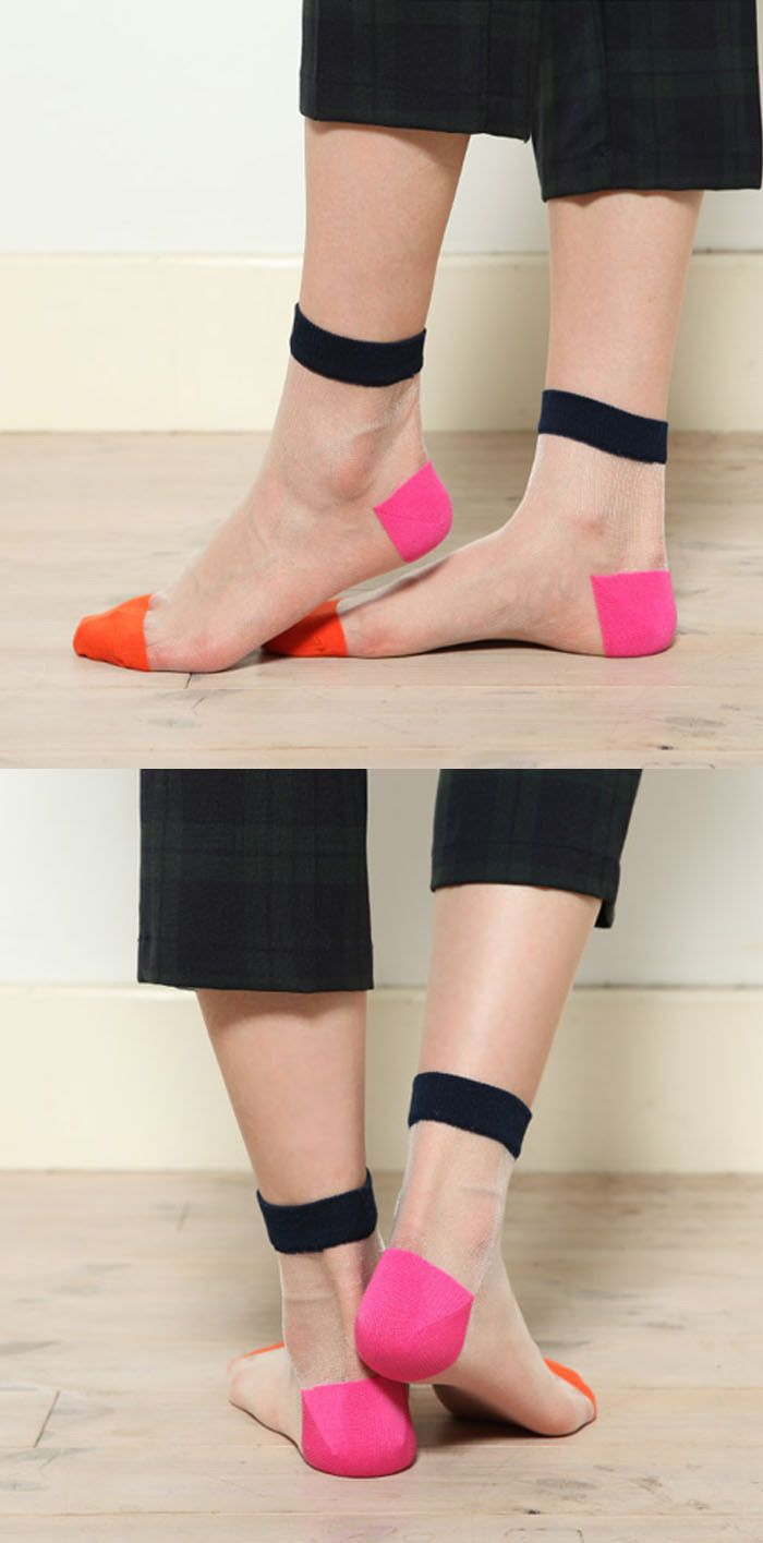 €1.37 New Style Crystal Silk Invisible Meias Transparent Socks for Women Fashion Color Patch Spring&Summer Sock