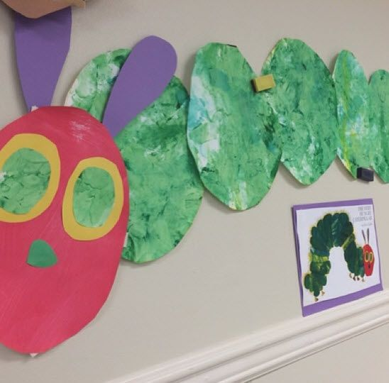 Several classes read The Very Hungry Caterpillar during the center's Eric Carle month. #caterpillar #hungry #ericcarle #art #artwork #adorable #kids #kindercare #kindergarten #prek #preschool #paint #insect #insects #bug #bugs #baby #cute #creative #son #daughter #lo #teach #teacher #toddler #toddlers #classic #class #classroom #diy #creative #nursery #reading #ece #ericcarle #books