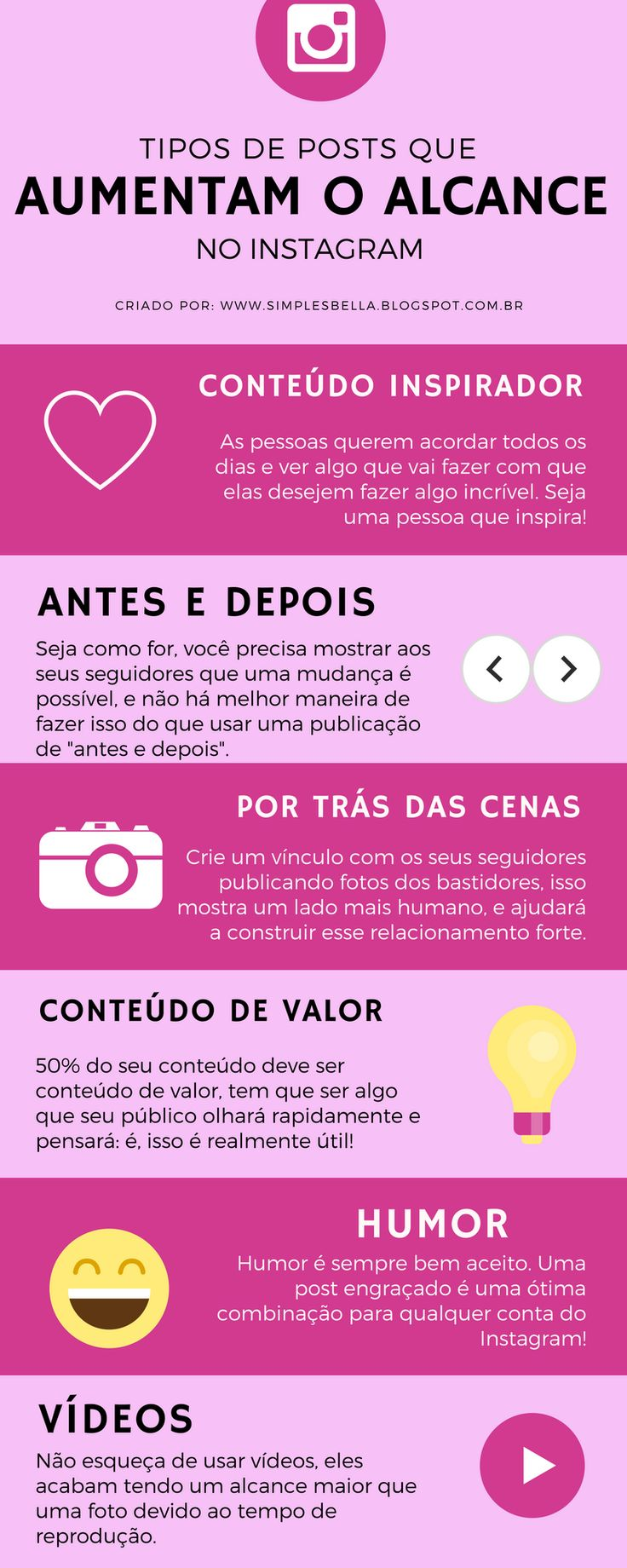 Posts que aumentam o alcance no Instagram: Existem diversos tipos de postagens que você pode estar fazendo para aumentar a distribuição dos seus conteúdos. Descubra alguns deles, e conheça o Ebook Instagram Sem Segredo para alavancar seu perfil! #instagram #instagramdicas #dicasparablogs #marketingdigital #marketing #girlboss