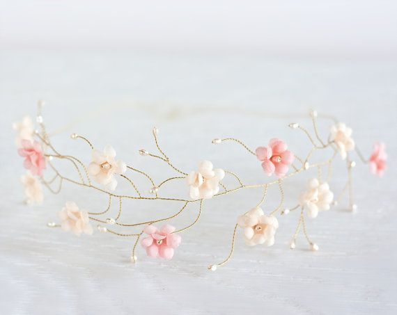 Pink and cream gold tiara, Bridal tiara, bridal hair accessories, wedding tiara, wedding flower crown, headpiece, headband, pearls bridal