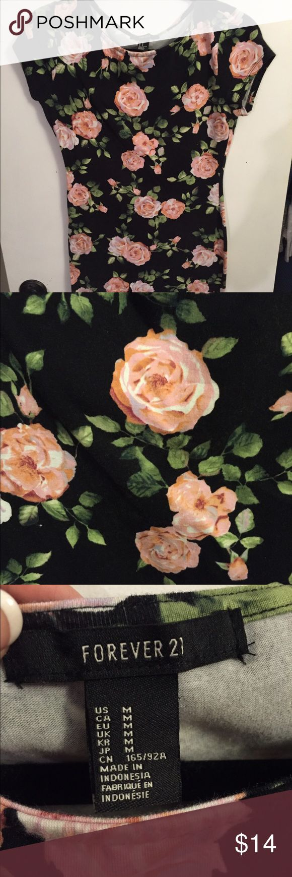 Pretty rose pattern bodycon dress size M Accepting offers!!! Pretty rose pattern bodycon dress size M Forever 21 Dresses Mini