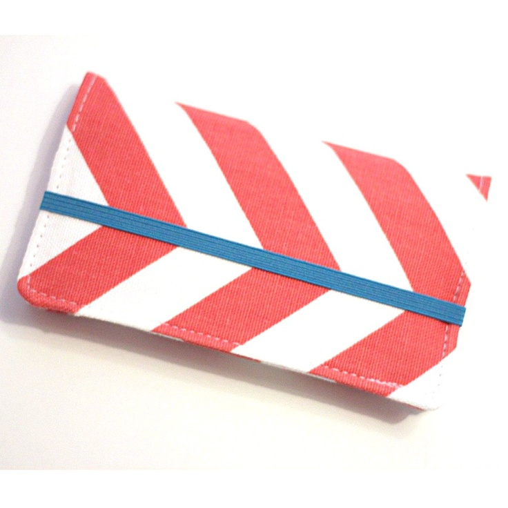 Coral Chevron Iphone - Cell Phone Wallet - Chevron Print - Coral and White - Smart Phone Wallet - Custom Size. $22.00, via Etsy.