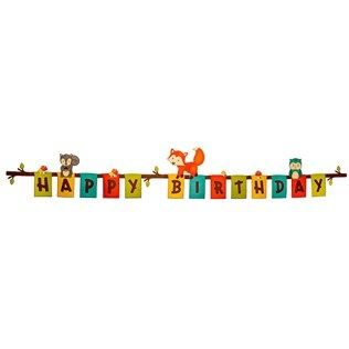 """Put the finishing touches on your child's woodland-themed birthday party with Woodland Happy Birthday Banner. This adorable banner features each letter of """"Happy Birthday"""" on individual colorful cards with mushroom and woodland animal add-ons with adhesives. Place the banner behind the cake stand or tie it outside for a cute touch.        Dimensions:      Length: 77"""" Fully Extended    Width: 6 1/4"""""""