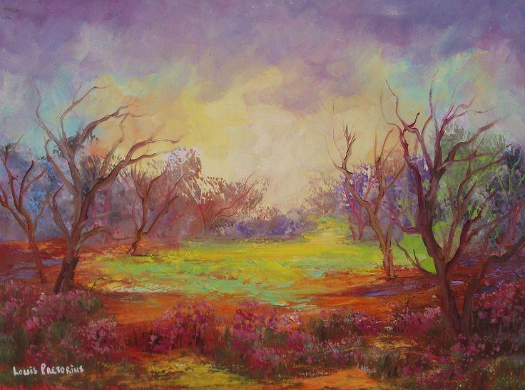 "For Sale: A Sunny spot in Nature by Louis Pretorius | $440 | 22""w 16""h | Original Art | https://www.vangoart.co/louis-pretorius/a-sunny-spot-in-nature @VangoArt"