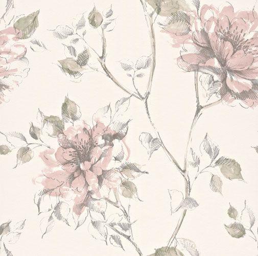 Romantisk tapet med stora, vackra slingrande rosor i pastellrosa och grönt från kollektionen Flora 897517. Klicka för att se fler vackra tapeter för ditt hem!
