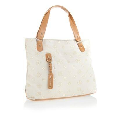 White large jacquard shopper bag