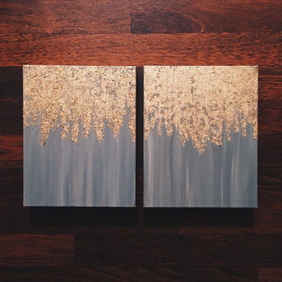 Wie in HGTV Magazin gesehen, Blattgold Malerei, mehrere Größen, passen Sie Ihre eigenen, abstrakte Blattgold Malerei, Wandkunst, schwere Leinwand