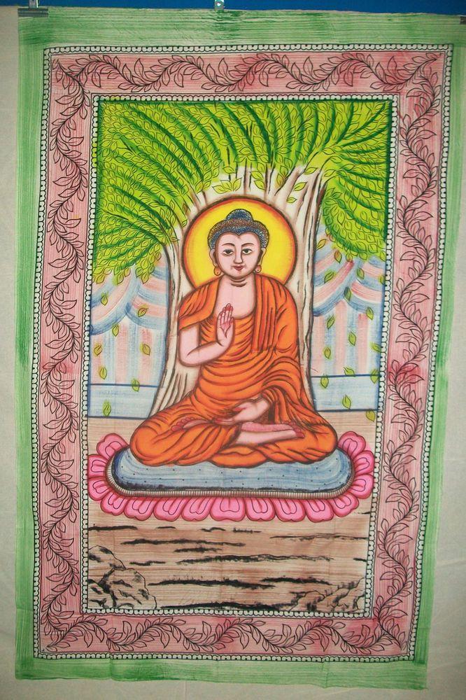 God Budha Traditional tapestry ethnic handmade poster indian wall hanging #Handmade