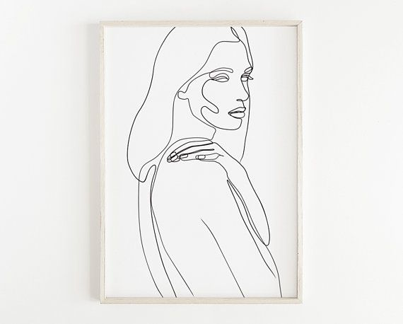 Female Line Art Printable Female Figure Line Drawing Female Face One Line Woman Sketch Continuous Line Abstract Line Portrait Art Line Drawing Face Line Drawing Line Art Drawings