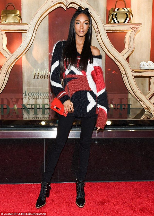 Santa's model helper!Jourdan Dunn, 26, wowed the crowd as she attended the Tod's Fellini-esque Holiday Circus Celebration in New York on Thursday evening
