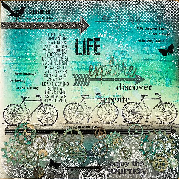 Layers of ink - Explore, Discover, Create Journal Page by Anna-Karin. Made for the Simon Says Stamp Monday Challenge blog, Transport theme. Stamps by Tim Holtz and Stamper's Anonymous, Sizzix dies and Ranger inks and sprays.