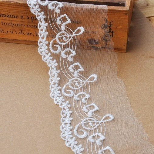 2 Yards Cotton LaceWave And Music Note by seasonalsupplies on Etsy, $5.40