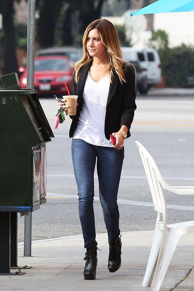 Ashley tisdale shows off her darker locks in rebecca minkoff