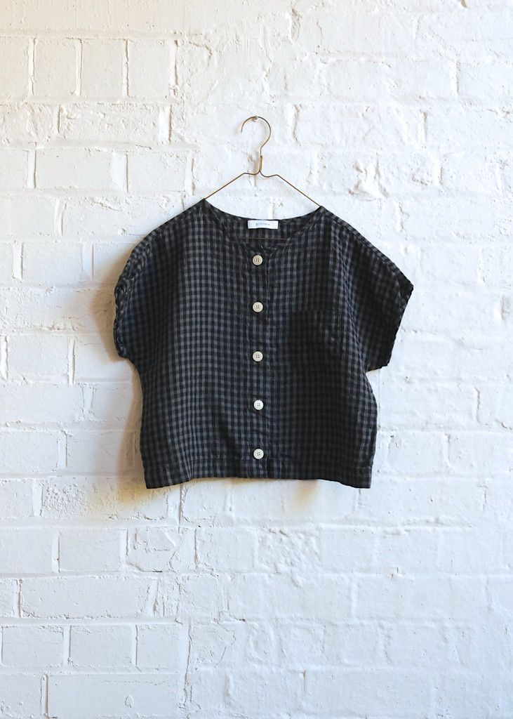 Primoeza Evie Button Up Top - Charcoal Check