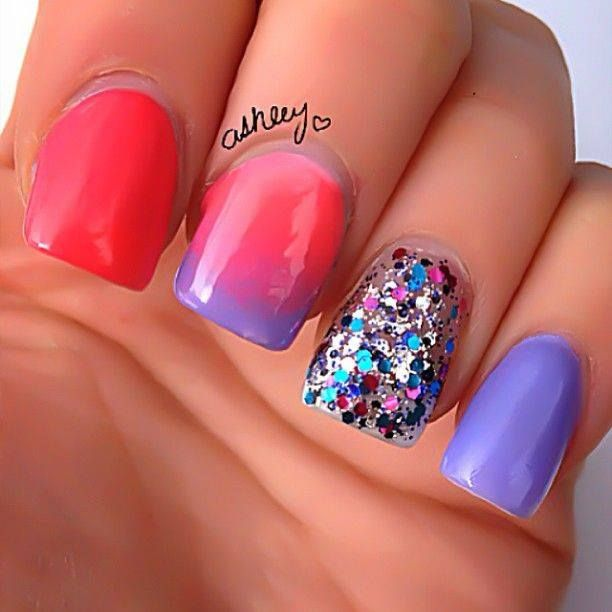 Ombre + Sparkle: Nails Art, Cute Nails, Nails Design, Purple Glitter Nails, Pretty Nails, Red Nails, Nails It, Nails Ideas, Nail Ideas