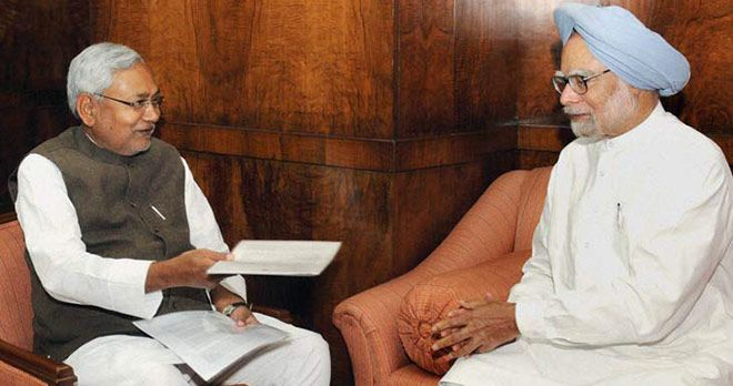Nitish Kumar with Former PM Manmohan Singh