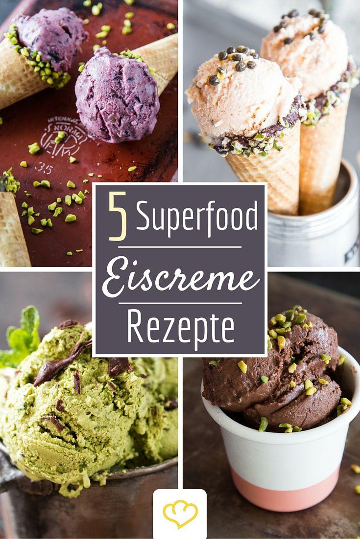 Eis und gesund? Ja, das geht! 5 Superfood-Eiskreationen mit natürlichen Zutaten, ohne Geschmacksverstärker und ohne übermäßigen Zucker. Fast alle für Veganer geeignet. Da können sich Vanille, Stracciatella und das gute alte Erdbeereis warm anziehen.