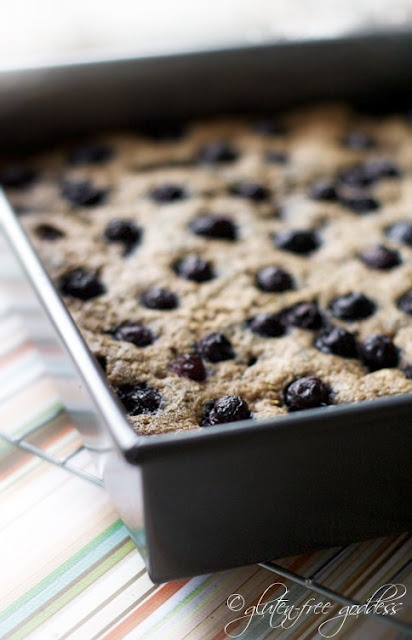 Gluten-free quinoa bars with blueberries via http://glutenfreegoddess ...
