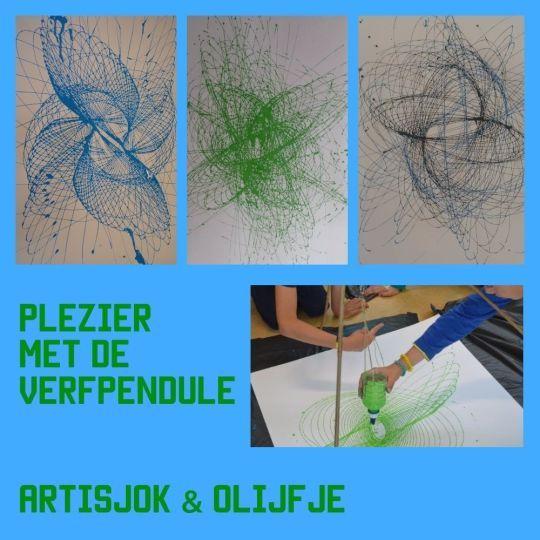 Tekenen met een verfpendule is magisch. Kinderen hoeven er alleen maar een duwtje tegenaan te geven en de pendule tekent voor hun ogen de meeste fascinerende patronen!  | Artisjok & Olijfje