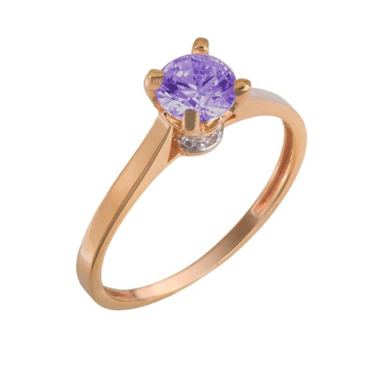 Mονόπετρο δαχτυλίδι, από ροζ χρυσό 14 Καρατίων διακοσμημένο με μωβ και λευκές topaz swarovski πέτρες σε ένα σικάτο σχεδιασμό.