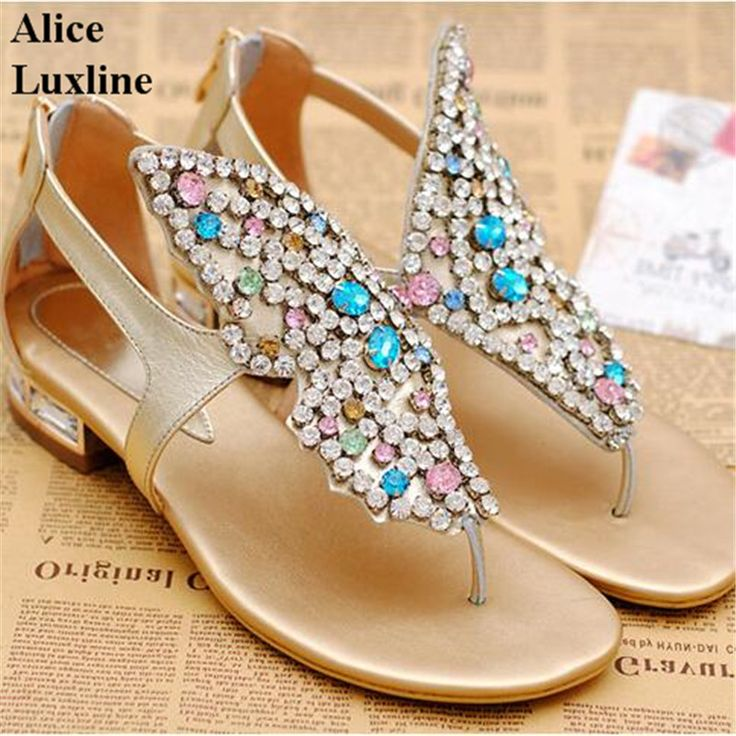 >> Click to Buy << 2017 Summer women butterfly colorful Rhinestone Sandals square heels flats shoes Flip flops lady casual shoes Plus 45 size CA AU #Affiliate