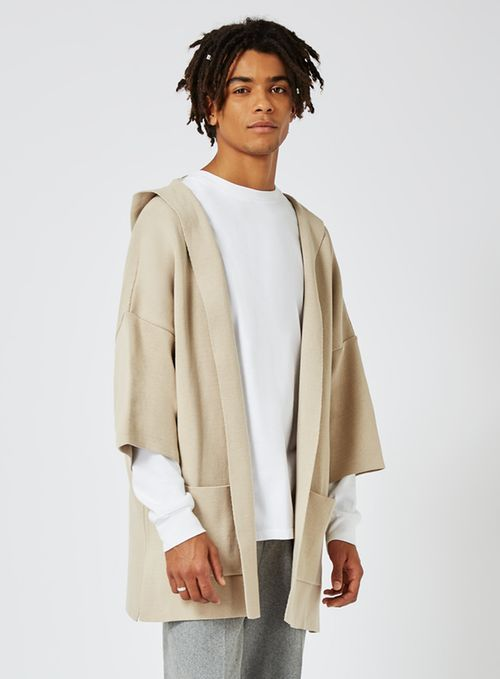 Stone Knitted Kimono Hoodie - View All Brands- TOPMAN