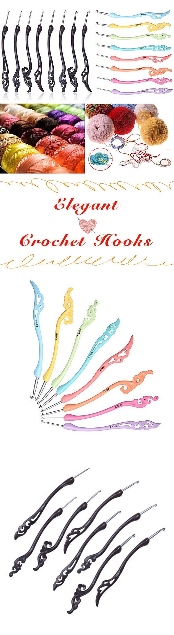Elegant crochet hooks of multiple sizes