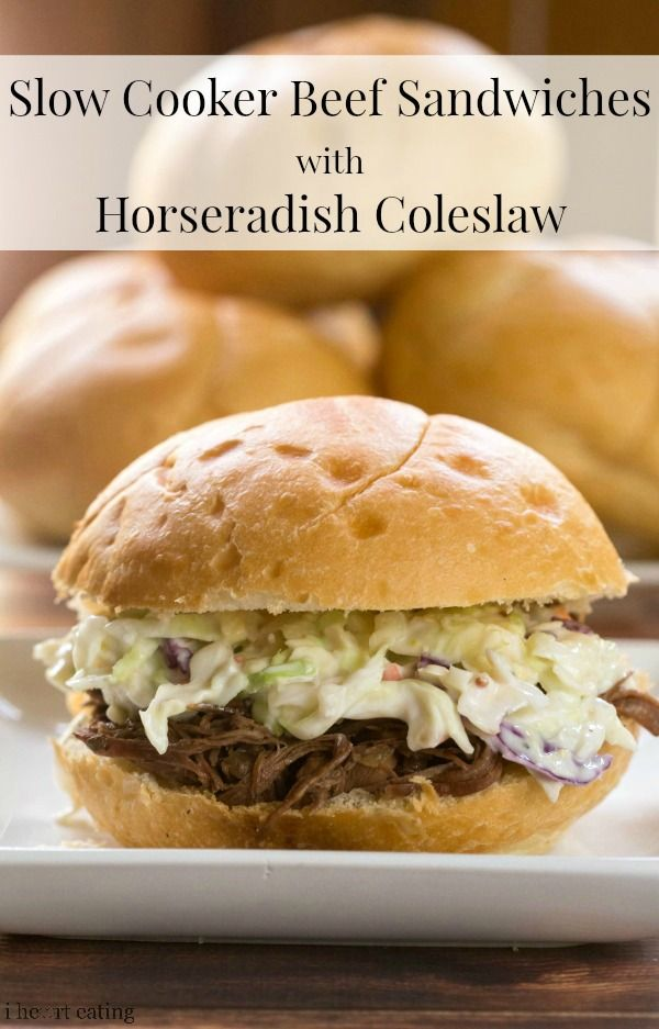 Slow Cooker Beef Sandwiches with Horseradish Coleslaw | http://www.ihearteating.com | #crockpot #summer #dinner #recipe